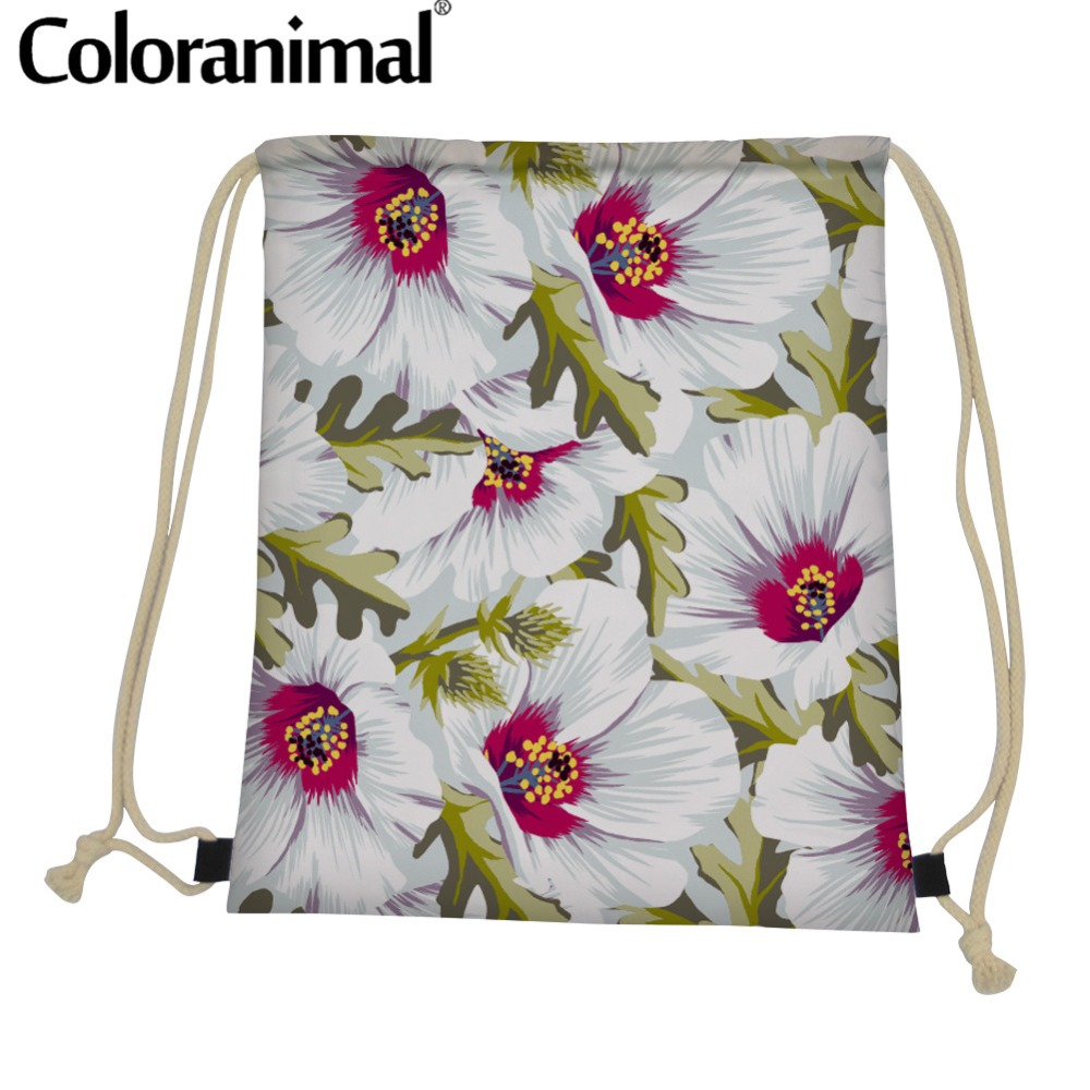 Coloranimal Teen Girl Boys Drawstring Bag Mini Mochila Backpack New Zealand Floral Design Bagpack Cinch Sack String Shoulder Bag