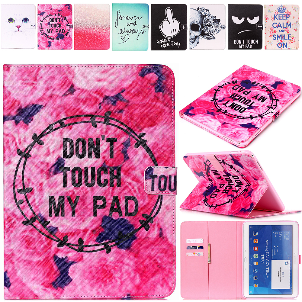Fashion Painted Flip PU Leather Case For Samsung Galaxy Tab 4 10.1 Case For Samsung Galaxy Tab 4 T530 T531 T535 Smart Cover
