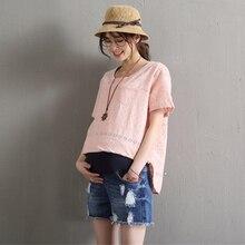 L-7XL летние рваные джинсовые шорты для беременных Для женщин хлопок свободный живот с эластичной резинкой на талии регулируемые джинсы Шорты