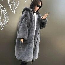 Женское зимнее длинное пальто с капюшоном из искусственного меха кролика Рекс, плотное пальто свободного кроя