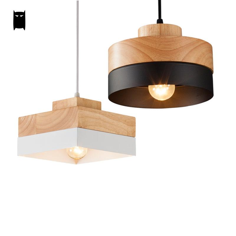 Black White Oak Wood Iron Round Square Pendant Light Cord Fixture Modern Nordic Anese Hanging Ceiling Lamp Dining Room Cafe Aliexpress Imall