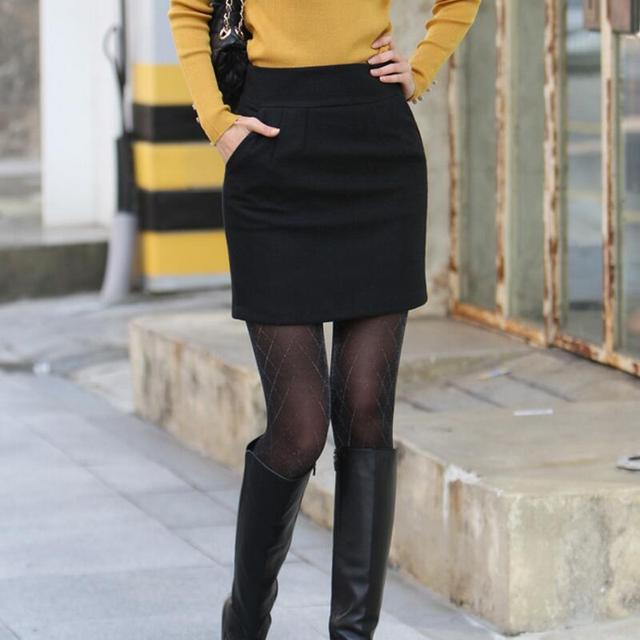 Купить женская шерстяная мини юбка с высокой талией большого размера