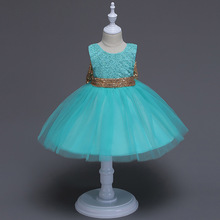 Kids Dress Mesh Lace Sequin Back BowGirls Elegant Dignified Halloween Birthday Party Princess Shein 1-5Y
