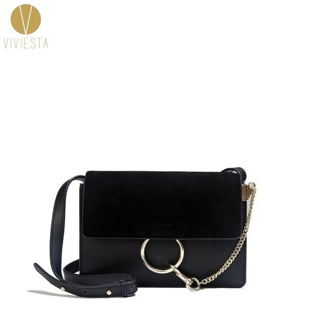 GENUINE REAL LEATHER ROUND LOCK CROSSBODY BAG Women's Minimal Circular Design Hot Fashion Famous Brand Shoulder Bag Handbag
