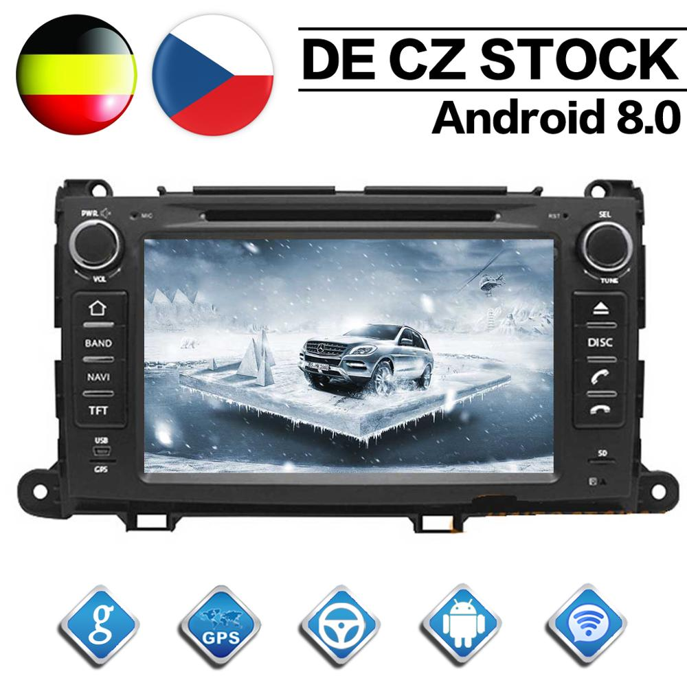 Octa Core 2 Din Android 8 0 Car Radio for Toyota Sienna 2010 2011 2012 2013