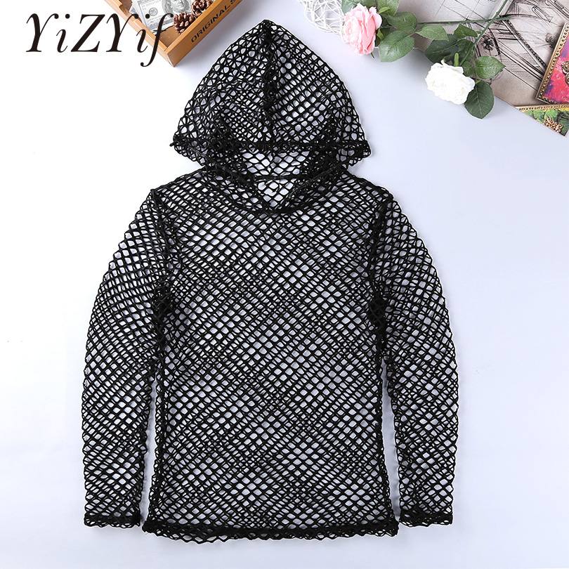 YiZYiF <font><b>Mesh</b></font> T <font><b>shirt</b></font> <font><b>Men</b></font> Summer t-<font><b>shirt</b></font> Fishnet <font><b>Long</b></font> Sleeve Hoodie See Through Muscle tshirt Tops Casual Clubwear Sexy T-<font><b>shirt</b></font> image