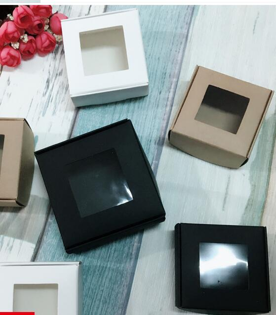 Us 21 21 5 Off 50pcs 4 Sizes White Black Kraft Paper Box With Pvc Window Packaging Box Case Display Gift Craft Paper Cardboard Gift Box Small In