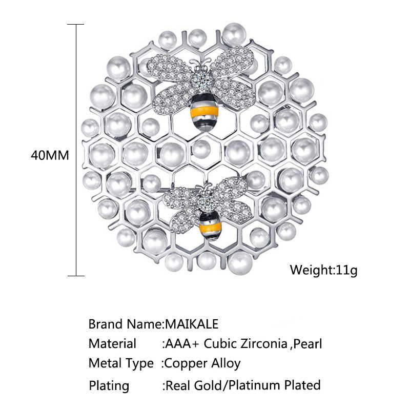 Maikale Mewah Sarang Lebah Bros Pin Mutiara Zirconia Lebah Brocade Bulat Liontin Bros untuk Wanita Pakaian Suits Lencana Aksesoris