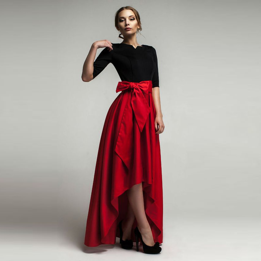 Red High Low Skirts Women Personalized Empire Waistline ...