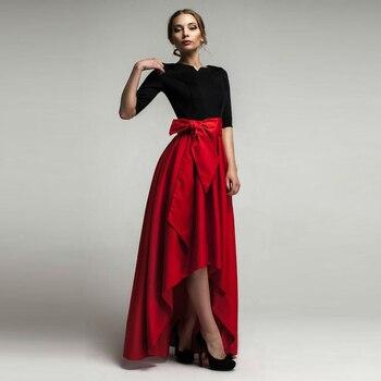 Red High Low Skirts Women Personalized Empire Waistline Floor Length Asymmetrical Skirt Elegant Long Maxi Skirt Юбка