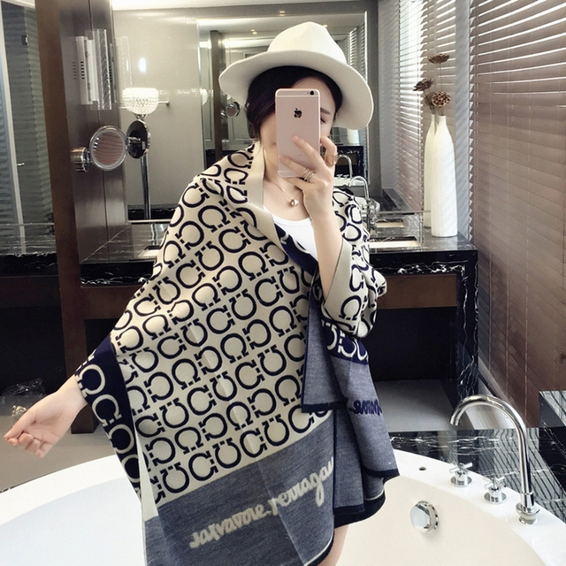 2016 fashion luxury brand cashmere scarf women winter warm Double-sided wool scarf long shawl and scarves Pashmina poncho cape