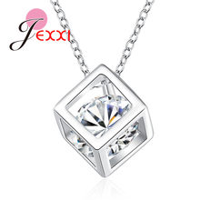 Elegant Women Real 925 Sterling Silver Necklaces New Happiness Square Cubic Zirconia Pendant Fine Jewelry For Women(China)