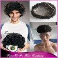 Высокое Качество! # 1b виргинских бразильских волос афро кудрявый завиток база моно с пу вокруг мужской парик бесплатная доставка