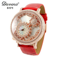 Hot womens leather gear wristwatch New women dress rhinestone watches fashion casual Miyota quartz watch Best Davena 30149 clock