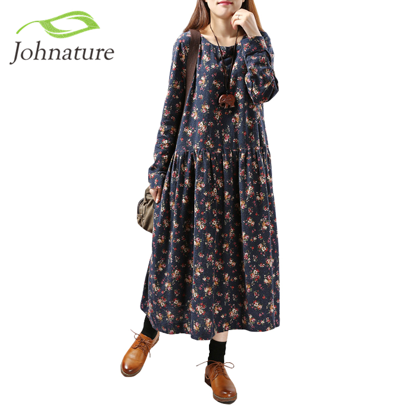 Johnature Women Floral Plus Size Long Sleeve Casual Dress