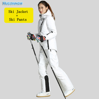 Women Winter Outdoor Ski Suit Waterproof Breathable Warm Snowboarding Coat Ski Set sealant thermal Functional Ski Jackets Pants