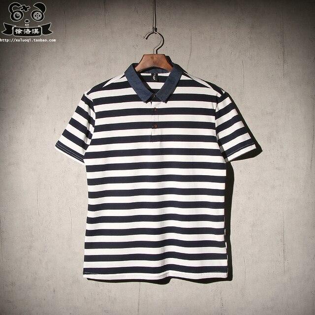 2016 Men's POLO shirt short-sleeved cotton shirt Slim stitching stripe casual POLO shirt England volkswagen polo WZ135