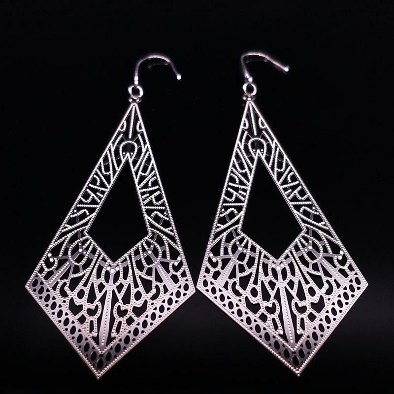 Stainless Steel Bohemian Earrings Women Jewelry Geometry Silver Color Earings Fashion Jewelry pendientes largos E612319