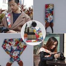 Для шеи и плеч Камера DSLR поясная сумка чехол, с цветочным принтом «розы» ремешок-шарф для фужи Олимпус цифровой зеркальной камеры Canon Nikon sony A7 A7R II ILCE-6000 A6300 RX1R