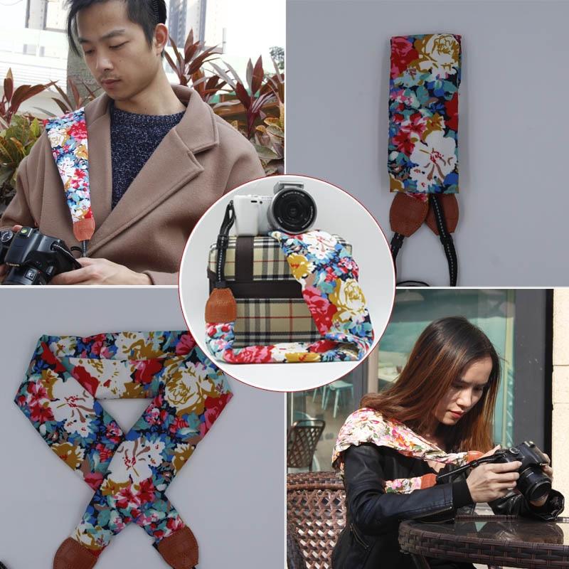 Neck Shoulder Camera DSLR Belt Bag Case Flower Rose Scarf Strap For Fuji Olympus Canon Nikon Sony A7 A7R II ILCE-6000 A6300 RX1R