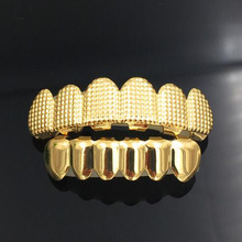 цена на Hip Hop Men's 6 Top & Bottom Teeth Gold Silver Color False Teeth Grillz Set Bump Lattice Dental Grills For Women Body Jewelry