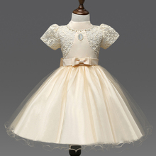 Girls Dresses Applique short sleeve Kids Lace Clothes Wedding Party Dress For Girl Summer Children's Princess Dresses 2-7Y