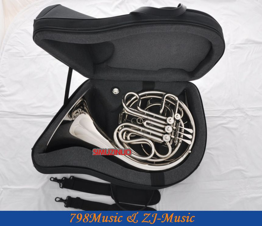 Silver Nickel Plated Double French Horn F/Bb 4 Keys With Case one horn double row 4 key single french horn fb key french horn with case surface gold lacquer professional musical instrument