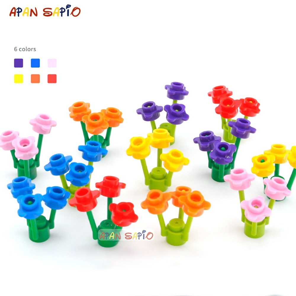 DIY Blocks Building Bricks Flowers And Grass 30combo Educational Assemblage Construction Toys For Children Compatible With Brand