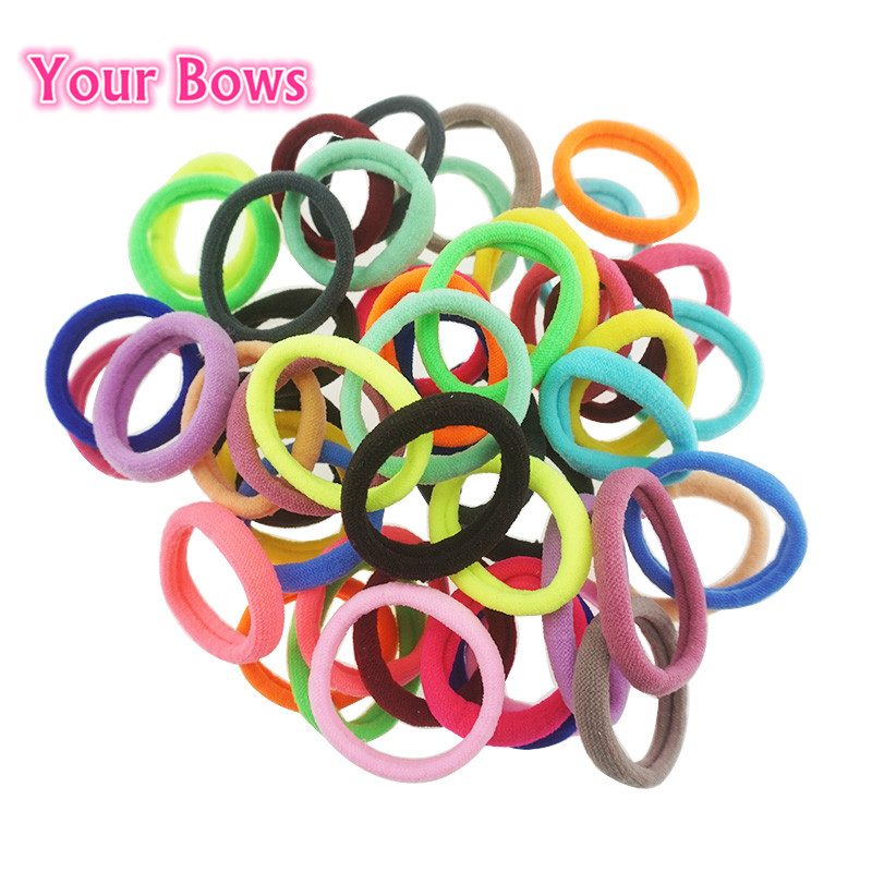Your Bows 50Pcs/lot Kids Girls Elastic Hair Bands Candy Color Hair Holders High Quality Rubber Bands Girl Tie Gum Haar Headwear 10pcs lot candy fluorescence colored hair holders high quality rubber bands hair elastics accessories girl women tie gum