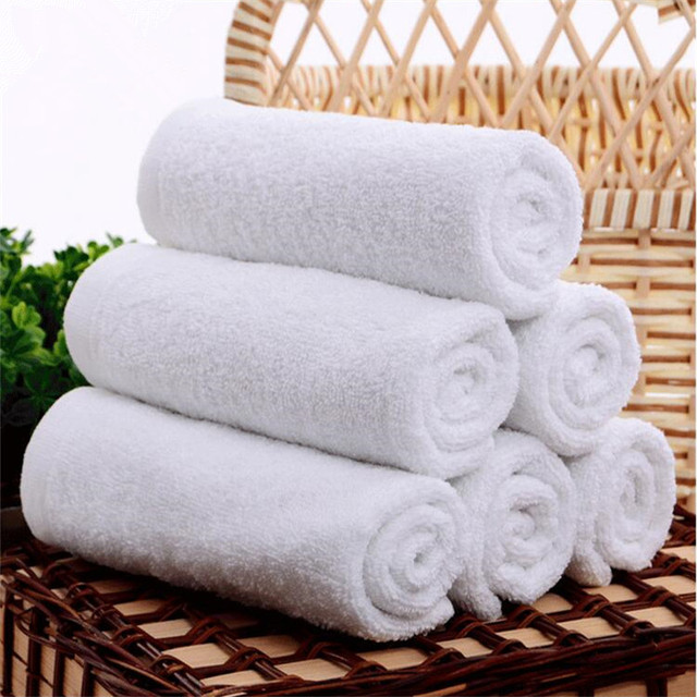 FullLove 5PCS/Lot Disposable Cotton Hotel Towels White Hand/Face Towels for Spa Beauty Salon Kitchen Dish Towels Home Textile