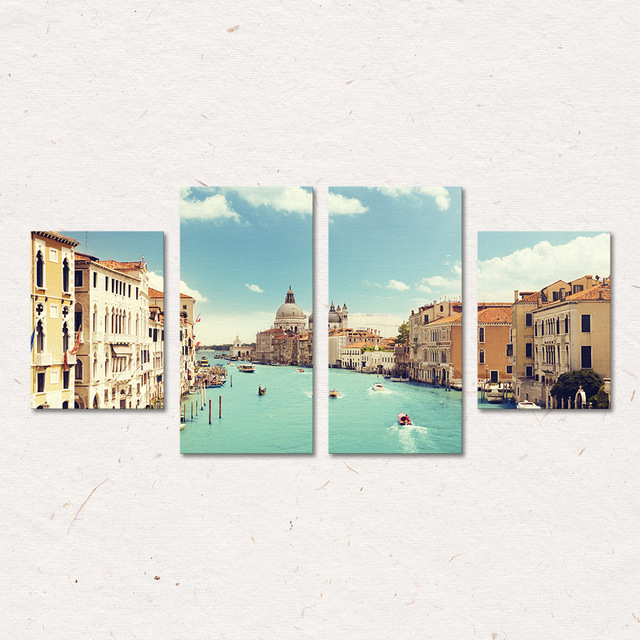4 Pcs/Set Venice Wall Art Painting Canvas Printed Painting for ...