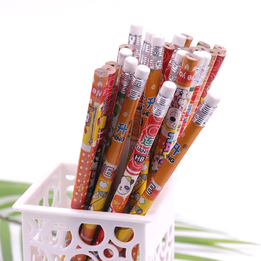 10PCS Cartoon Pencil Eraser Wood Hb Pencil Color Pen Pole Children Students Painting Sketch Write Student Stationery