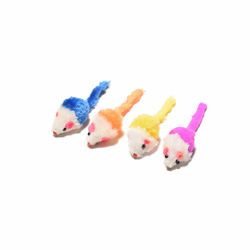 Creative Pet Toys Random Color 5cm Interactive Rabbit Fur False Mouse Pet Cat Toys Mini Funny Playing Toys For Cats Kitten Toy