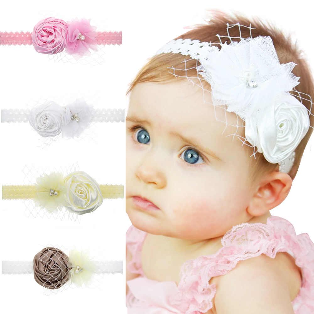 Baby girl ヘッドバンド幼児ヘアアクセサリー布花弓ローズ新生児帽子 headwrap ギフト幼児包帯リボン