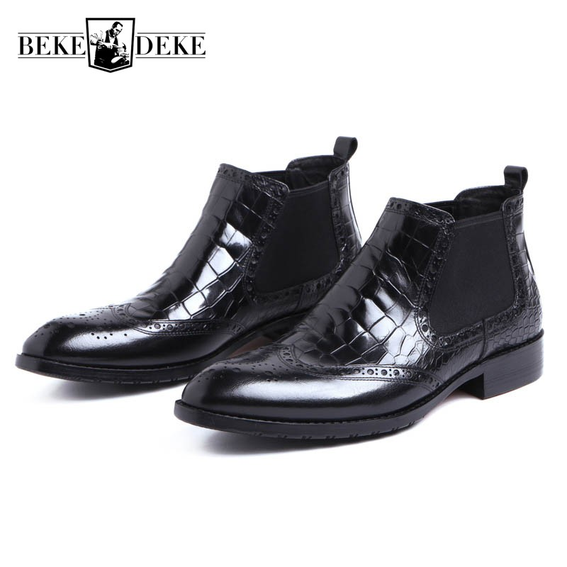 Brand Black Chelsea Boots For Men Genuine Leather Pointed Toe Italian Business Wedding Ankle Boots Wing Tip Work Safety Shoes new fashion men shoes comfortable pointed toe genuine leather for men chelsea boots brogue anti skid business shoes black brown