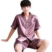Summer Burgundy 2pcs Shirt shorts Satin Pajamas Suit Men Home Clothes Intimate Lingerie Negligee Lounge Nightwear