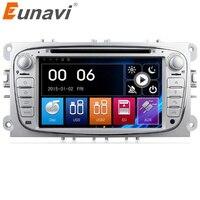 Eunavi Çift 2 Din 7 Inç Araba DVD Radyo Çalar Için FORD/Mondeo/S-MAX/C-MAX/Galaxy/ODAK 2 GPS Navigasyon ile 1080 P Ücretsiz Harita BT