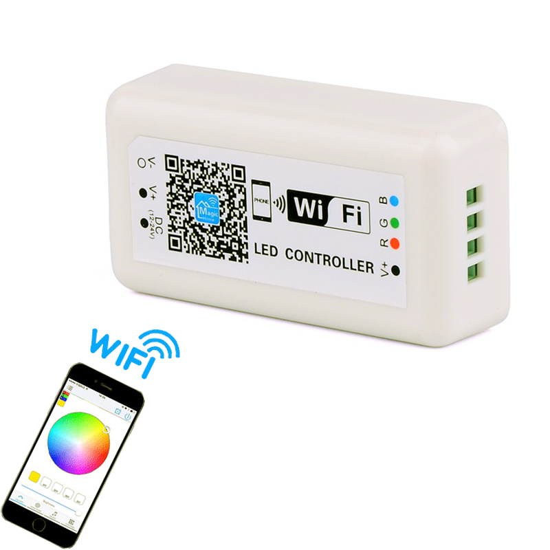 US $13 3 5% OFF|Wireless RGB LED controller Wifi Led dimmer switch for led  strip light 12V 24V by APP IPhone Android remote control DIY modes-in RGB