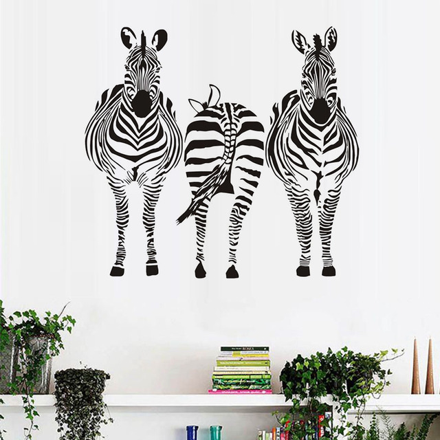 Three Zebra Wall Stickers For Kids Room Wall Decor African Style Nursery  Wallpaper Wall Art Decals