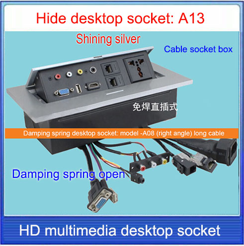 Tabletop Socket HiddenVGA Audio HDMI USB NetworkRJ - Table outlet box
