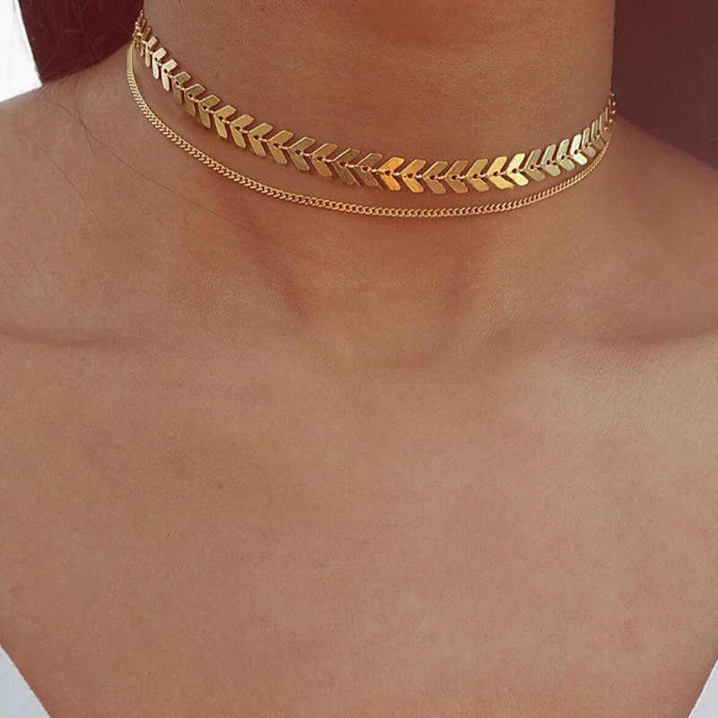 Multi Arrow Choker Necklace Women Two Layers Necklaces Gold Color Fishbone Plane Necklace Chocker Neck