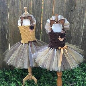 Image 2 - Платье пачка для девочек с коричневыми цветами, детский косплей, костюм с животными и львом, нарядное платье для девочек, детское платье на хэллоуин, день рождения