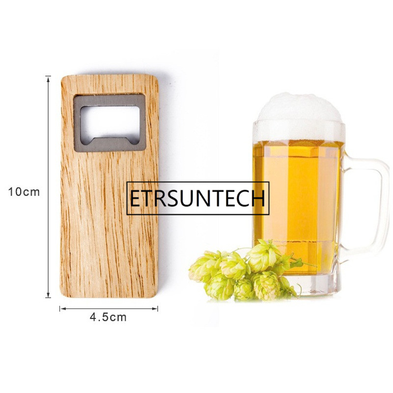 500pcs Wood Beer Bottle Opener Wooden Handle Corkscrew Stainless Steel Square Openers Bar Kitchen Accessories Party Gift