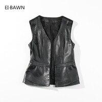 2018 Women Vest Genuine Leather Black V Neck Sleeveless Korean Fashion Sheepskin Vest Casual Best Leather Jackets For Women