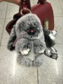 Genuine Leather Bag Charm Lion Keychains Plush Keyring Gray Bunny Real Furry Plush Key chains Handbag Charm