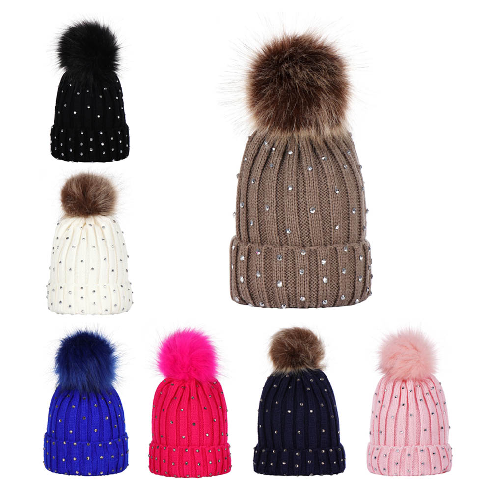 1-5y Kids Baby Winter Warm Knitted Hat With Pompon Topper Bling Rivet Crochet Ski Cap Child Hat Caps Xmas Gift Photograph Props Hats & Caps Accessories