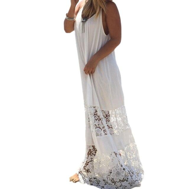 4XL 5XL Plus Size Dress Women Oversized Summer Dress Solid Lace Splice Spaghetti Strap Loose Long Beach Maxi Floor-length Dress