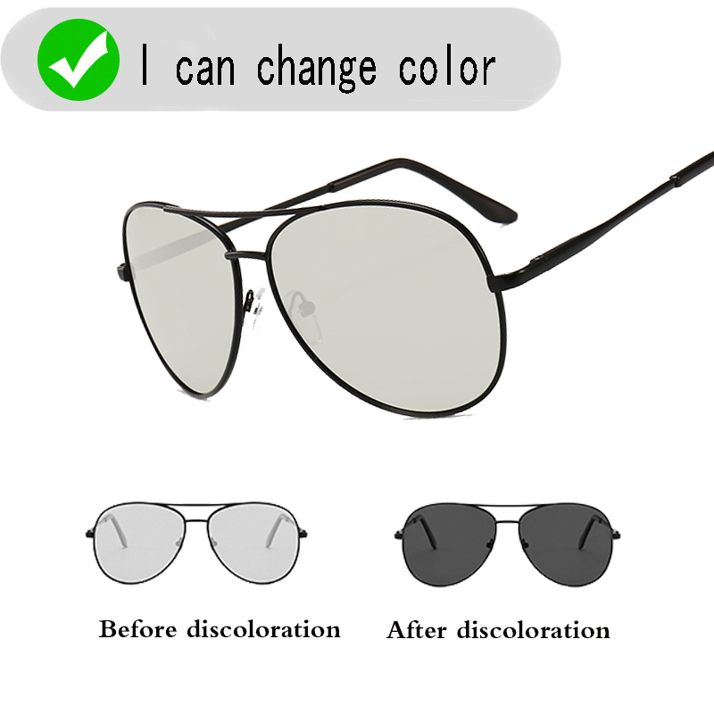 Classic Driving Photochromic Sunglasses Men Polarized Chameleon Discoloration Sun glasses for men Anti-glare Goggles image