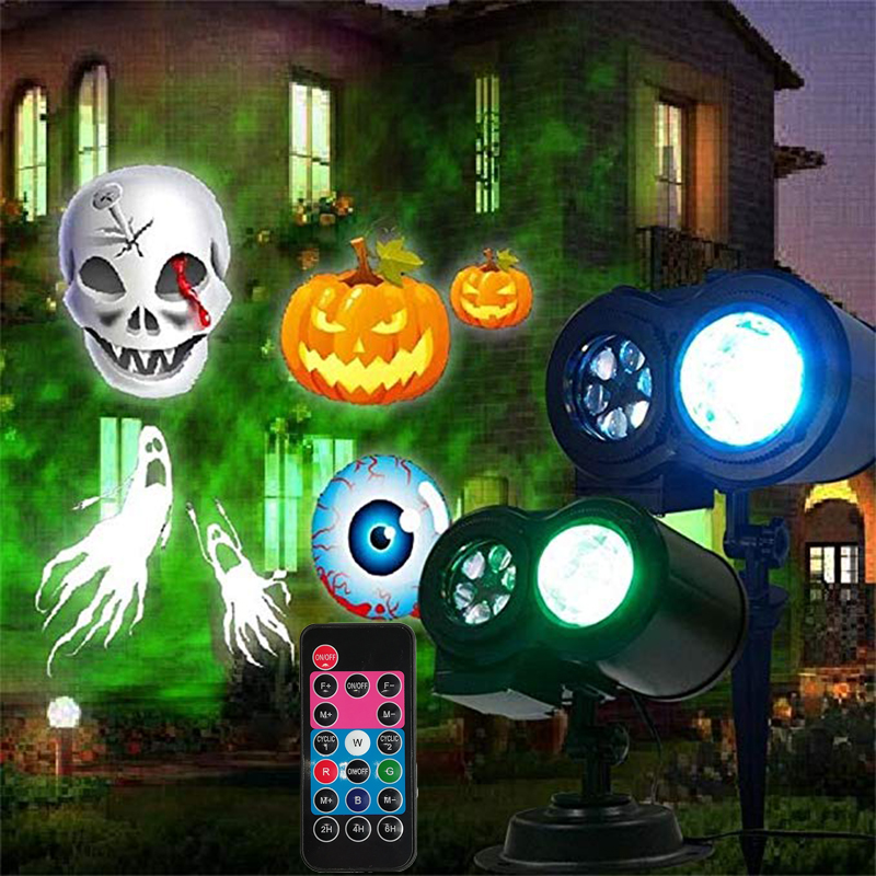Halloween Landscape Projector Projection Lamp Led Card Double Tube Water Pattern Lawn Light Holiday Christmas Stage Decoration все цены