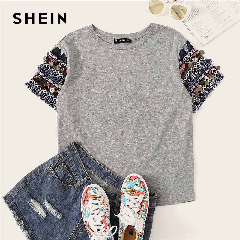 SHEIN Folk Style Fringe Trim Heathered Tee Casual T Shirt Women 2019 Summer Short Sleeve Stretchy Boho Cute Tshirt Tops